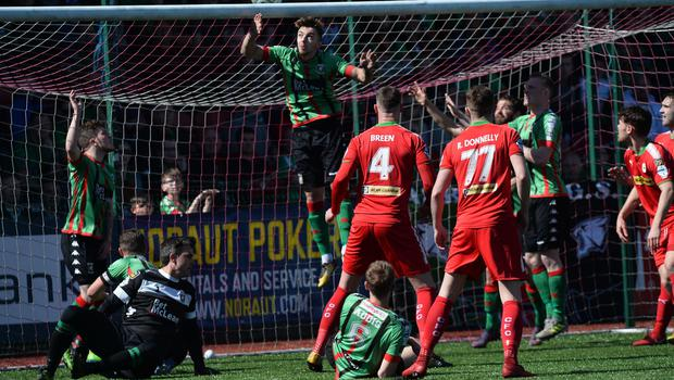 Cliftonville v Glentoran Europa league Play Off GlentoranÕs Robbie McDaid sees a shot go over  during this afternoons game at Solitude in Belfast. Photo Colm Lenaghan/Pacemaker Press