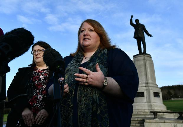 Alliance Party Leader Naomi Long speaks to the media after talks with Northern Ireland Secretary Julian Smith at Stormont House on Monday, December 16. Photo Colm Lenaghan/Pacemaker Press
