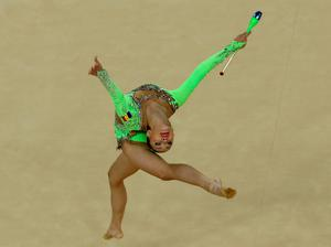 RIO DE JANEIRO, BRAZIL - AUGUST 19:  Ana Luiza Filiorianu of Romania during the Rhythmic Gymnastics Individual All-Around on August 19, 2016 at Rio Olympic Arena in Rio de Janeiro, Brazil.  (Photo by Elsa/Getty Images)