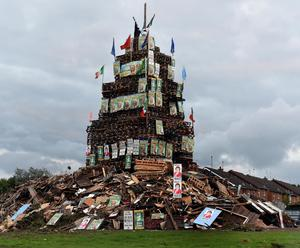 An 11th Night bonfire at Edgarstown, Portadown, covered in at leat 30 Sinn Fein and SDLP election posters. This follows a complaint to police about another bonfire in Portadown's Corcrain Estate as a hate crime by Sinn Fein.