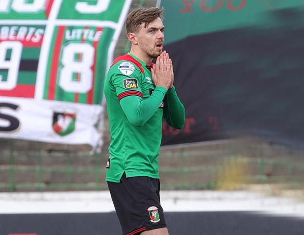 Glentoran's Robbie McDaid missed a penalty  during yesterday's Big Two derby and is now the subject of interest from Linfield.  Photo by David Maginnis/Pacemaker Press