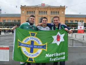 PACEMAKER BELFAST   10/10/2016 Northern Ireland's  Fans (From L-R) Steven Hull, Neill McIlrath and Darren McCrory in Hannover for Northern Ireland's World Cup Qualifier against Germany on Tuesday evening. Photo Colm Lenaghan/Pacemaker Press