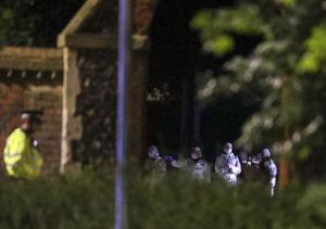 Forensic officers at Forbury Gardens on Saturday night (Steve Parsons/PA)