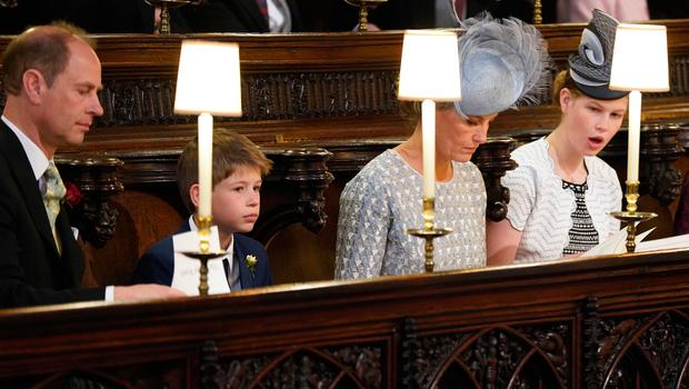 WINDSOR, UNITED KINGDOM - MAY 19: Prince Edward and Sophie the  Earl and Countess of Wessex and their children Lady Louise Windsor and James, Viscount Severn take their seats at St George's Chapel at Windsor Castle before the wedding of Prince Harry to Meghan Markle on May 19, 2018 in Windsor, England. (Photo by  Jonathan Brady - WPA Pool/Getty Images)