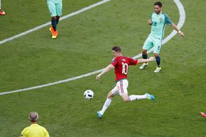 Hungary's Zoltan Gera scores his side's first goal during the Euro 2016 Group F soccer match between Hungary and Portugal at the Grand Stade in Decines-Charpieu, near Lyon, France, Wednesday, June 22, 2016. (AP Photo/Michael Sohn)