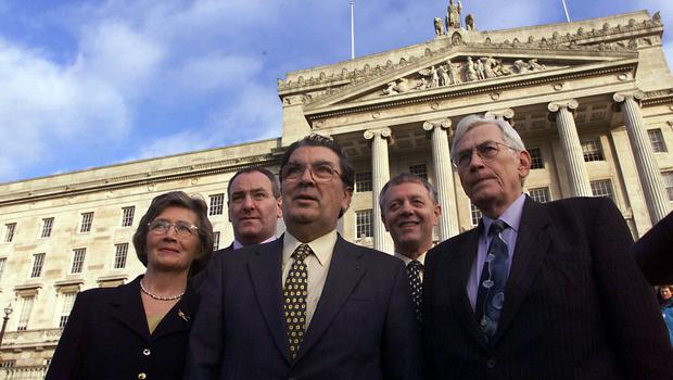 PACEMAKER BELFAST 29/11/99 The SDLP team led by leader John Hume arrive at Stormont on monday Morning to start the process of selecting ministers for the Devolved Government