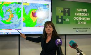 Met Eireann forecaster Evelyn Cusack at a meeting of the National Emergency Coordination group in Dublin. PRESS ASSOCIATION Photo. Picture date: Sunday October 15, 2017. See PA story WEATHER Ophelia Ireland. Weather forecasters are warning of a potential threat to life as Hurricane Ophelia is set to batter Ireland. Photo credit should read: PA Wire