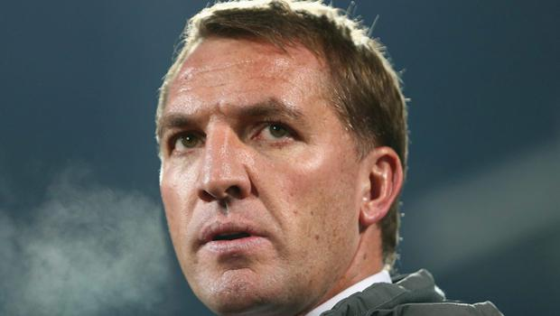 Brendan Rodgers on from the bench during the match between Ludogorets Razgrad and Liverpool