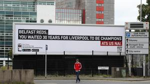 The Liverpool billboard that has appeared in Belfast, where Great Patrick Street meets Dunbar Street, thanks to The Anfield Wrap.