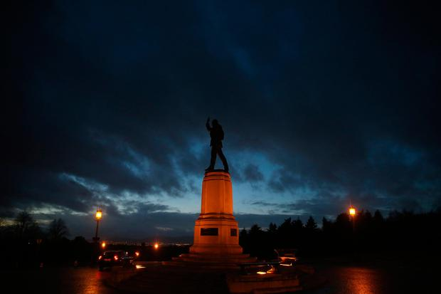 A general view of the statue of Lord Edward Carson at Stormont in Belfast after Martin McGuinness announced his resignation as Deputy First Minister in protest at the Democratic Unionist Party's handling of a botched renewable energy scheme. PA
