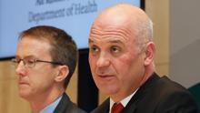 Dr John Cuddihy, HSE director of public health (left), and chief medical officer Dr Tony Holohan (Niall Carson/PA)