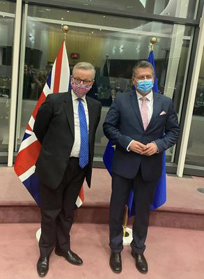 Michael Gove and Maros Sefcovic announce their agreement.