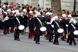 A band marches before the annual Remembrance Sunday service at the Cenotaph memorial in Whitehall. Gareth Fuller/PA Wire.