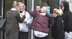 Christopher Meli's parents Vanessa and Christy at Laganside Court in Belfast, after the sentencing.