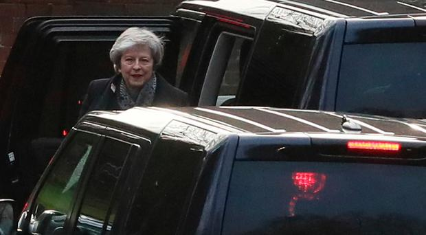 Prime Minister Theresa May arrives at Stormont for talks on Brexit with party leaders on the second day of her visit to Belfast. PRESS ASSOCIATION Photo. Picture date: Wednesday February 6, 2019. See PA story POLITICS Brexit. Photo credit should read: Brian Lawless/PA Wire