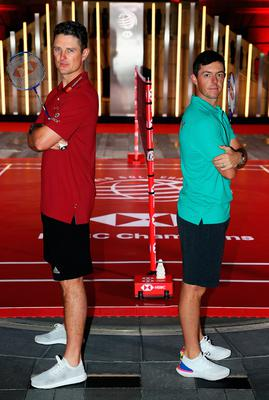 Showdown: Rory McIlroy (right) and Justin Rose before game of badminton in Shanghai ahead of WGC-HSBC Champions