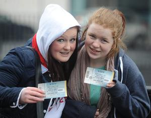 PACEMAKER BELFAST 07/03/2013   One Directions fans  Hannah McClure   and Katlyn Bradshaw  queue  at the Odyssey Arena before the concert in Belfast on thursday night  Photo Colm Lenaghan/Pacemaker Press
