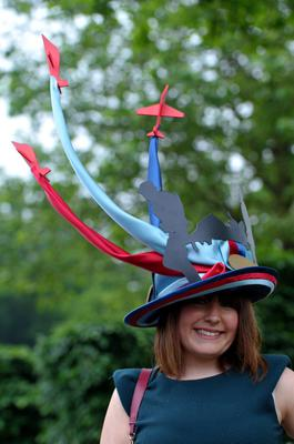 Joely Chilcott arrives with a Red Arrows themed hat for Ladies' Day of the Royal Ascot meeting at Ascot Racecourse, Berkshire. PRESS ASSOCIATION Photo. Picture date: Thursday June 20, 2013. See PA story RACING Ascot. Photo credit should read: Tim Ireland/PA Wire