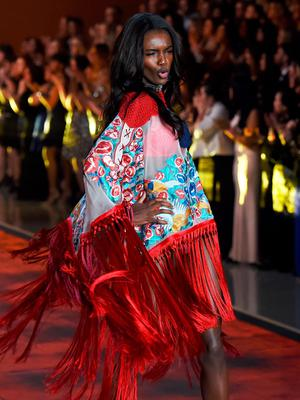 Model Leomie Anderson from Britain presents a creation during the 2015 Victoria's Secret Fashion Show in New York on November 10, 2015. AFP PHOTO/JEWEL SAMADJEWEL SAMAD/AFP/Getty Images
