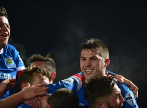 Linfield v Crusaders Co Antrim Shield Final. Linfield's Stephen Lowry pictured after scoring his teams 3rd goal during this evenings final at warden Street in Ballymena. Picture By: Arthur Allison/Pacemaker Press