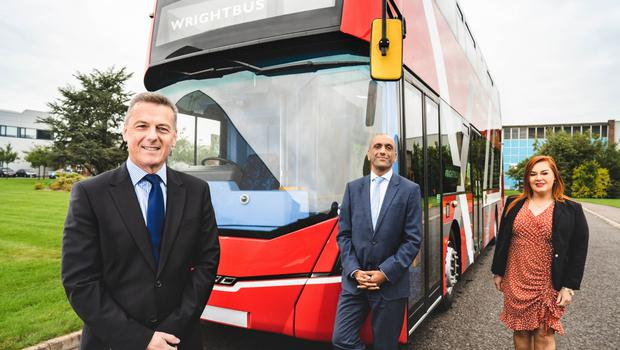 Graham Whitehurst MBE, chairman of Mid and East Antrim's Manufacturing Task Force, Buta Atwal, chief executive of Wrightbus with Mid and East Antrim chief executive, Anne Donaghy