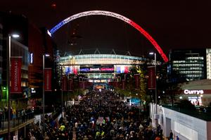 LONDON, ENGLAND - NOVEMBER 17:  The words 'Liberte, Igalite, Fraternite' and the colours of the French flag adorn Wembley Stadium ahead of tonight's football match between England and France on November 17, 2015 in London, England. Security in London has tightened after a series of terror attacks across the French capital of Paris on Friday, leaving at least 129 people dead and hundreds more injured.  (Photo by Ben Pruchnie/Getty Images)