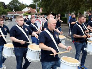 PACEMAKER PRESS BELFAST  13/7/2020 Twelfth of July celebrations in Portadown today as 6 local bands paraded through streets and estates in a socially distanced manner. People were encouraged to celebrate the Twelfth from home as bands brought the celebrations to the people.  Photo Pacemaker Press