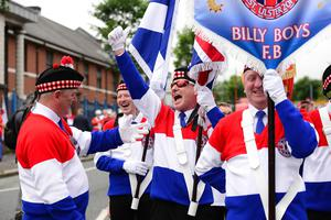 Pacemaker Press 12-07-2019:   Twelfth of July parades are taking place in 18 locations across Northern Ireland. Tens of thousands of people are expected at the marches, which mark the anniversary of the Battle of the Boyne. The day's longest parade, in Belfast, stretches to six miles (9.5km) - nine districts will take part, accompanied by about 60 bands. As part of it, a wreath-laying ceremony took place at the Cenotaph at Belfast City Hall. Christine Craig LOL88 pictured at the Belfast parade. Picture By: Arthur Allison/Pacemaker Press.