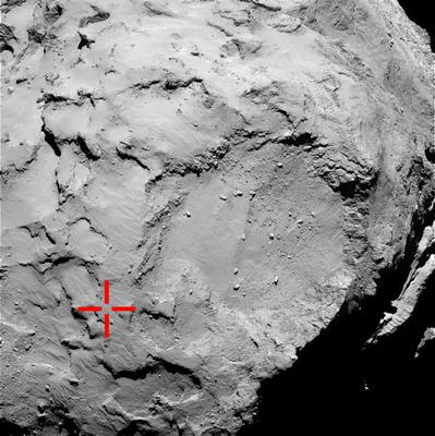 Comet 67P/CG acquired by Rosetta's OSIRIS narrow-angle camera which is marked to show the location of the first touchdown point of the Philae lander, as scientists re-established communication with the Philae space probe, which has made history by landing on the comet. Pic European Space Agency/PA Wire