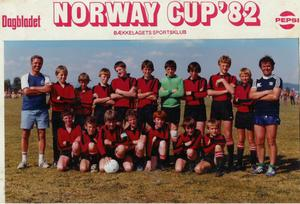 Norway 1982, (back row fifth from left) Gerry Taggart (Front Row second from left) Noel Baile, (fifth from left) Neil lennon