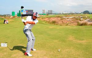 RIO DE JANEIRO, BRAZIL - AUGUST 09:  Rickie Fowler of the USA on the first tee during a practice at Olympic Golf Course on August 9, 2016 in Rio de Janeiro, Brazil.  (Photo by Ross Kinnaird/Getty Images)