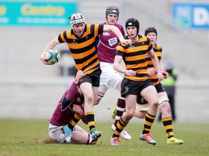 3 March 2015 -   Picture by Darren Kidd / Press Eye  Danske Bank Ulster Schools? Cup semi-final, Coleraine AI and RBAI at Kingspan Stadium.  RBAI's Andrew McGregor drives forward