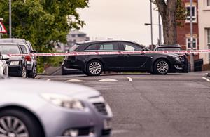Police at the scene of a security alert in the Clonard Gardens area of west Belfast on May 17th 2020 (Photo by Kevin Scott for Belfast Telegraph)