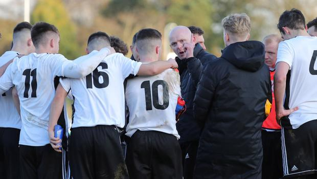Pacemaker Belfast 1-2-20 Queen's University v Glentoran - Sadler's Peaky Blinder Irish Cup Queen's manager Peter Thompson  gathers his players together after today's game at The Dub, Belfast.  Photo by David Maginnis/Pacemaker Press