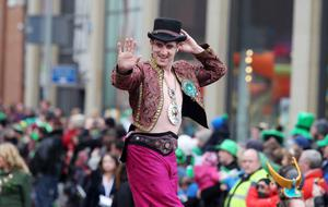 Northern Ireland- 17th March 2013 Mandatory Credit - Photo-Jonathan Porter/Presseye.  Belfast Annual St Patrick's Carnival Parade in the City Centre.  The carnival started with a parade from the CIty Hall and was  followed by a concert in Custom House Square with a number of acts including The Voice's David Julien and X Factor's Amelia Lily.  St Patrick leads the parade through the City Centre.