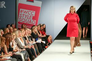 West Coast Cooler Fashion Week. Pictured: Kate with a Beige Coat and Red Ruffle Dress from M&S. Picture: Philip Magowan / PressEye (21st October 2016)
