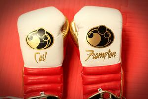 Press Eye - Belfast -  Northern Ireland - 15th July 2015 - Boxer Carl Frampton's gloves are pictured during an open training session in El Paso, Texas before  defending his IBF World title against Alejandro Gonzalez Jr on Saturday evening.  Picture by Jorge Salgado / Press Eye