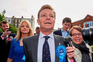 File photo taken on May 08, 2015 shows Conservative candidate Craig Mackinlay speaking to the press after being declared winner of the Thanet south seat. AFP/Getty Images