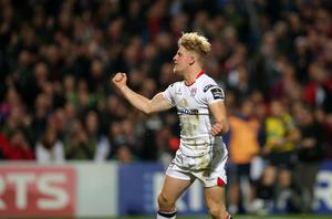 28 October 2016 - Picture by Darren Kidd / Press Eye.     Ulster v Munster at Kingspan Stadium, Belfast.  Ulster's Robb Lyttle scores between the posts