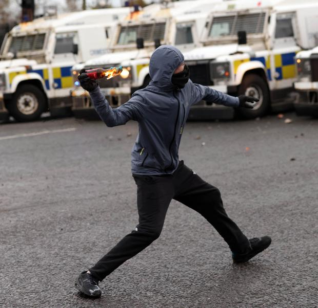 Nationalist youths clash with PSNI officers on the Springfield road this evening in a second night of trouble in the area. Photo Stephen Davison/Pacemaker Press