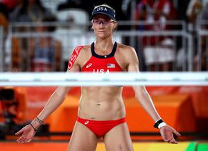 RIO DE JANEIRO, BRAZIL - AUGUST 14:  Kerri Walsh Jennings of United States looks on during a Women's Quarterfinal match between the United States and Australia on Day 9 of the Rio 2016 Olympic Games at the Beach Volleyball Arena on August 14, 2016 in Rio de Janeiro, Brazil.  (Photo by Sean M. Haffey/Getty Images)