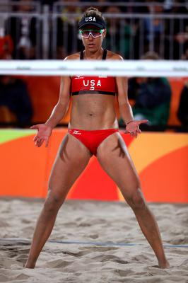 RIO DE JANEIRO, BRAZIL - AUGUST 14:  April Ross of United States looks on during a Women's Quarterfinal match between the United States and Australia on Day 9 of the Rio 2016 Olympic Games at the Beach Volleyball Arena on August 14, 2016 in Rio de Janeiro, Brazil.  (Photo by Sean M. Haffey/Getty Images)