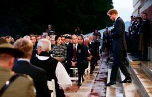 The Duke and Duchess of Cambridge and Prince Harry attend part of a military-led vigil to commemorate the 100th anniversary of the beginning of the Battle of the Somme at the Thiepval memorial to the Missing, as part of the Commemoration of the Centenary of the Battle of the Somme at the Commonwealth War Graves Commission Thiepval Memorial in Thiepval, France, where 70,000 British and Commonwealth soldiers with no known grave are commemorated. PRESS ASSOCIATION Photo. Picture date: Thursday June 30, 2016. See PA story HERITAGE Somme. Photo credit should read: Yui Mok/PA Wire