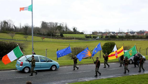 Picture - Kevin Scott / Presseye  Belfast , UK - March 26, Pictured is the Republican Sinn Fein commemorative march as it makes its way from the Kilwilkee Estate to St Colemans Cemetary on March 26, 2016  Belfast, Northern Ireland ( Photo by Kevin Scott / Presseye )
