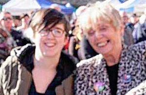 Lyra with Kathryn Johnston in Londonderry at last October's fiftieth anniversary of the civil rights movement