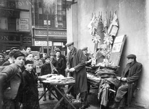 World War 2:  VE - Day.  Selling flags and bunting, High Street, Belfast.  (05/05/1945)