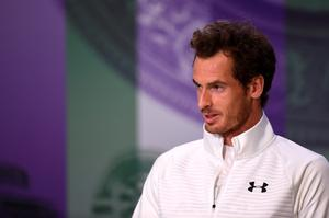 LONDON, ENGLAND - JULY 10:  Andy Murray of Great Britain speaks to the media following victory in the Men's Singles Final against Milos Raonic of Canada on day thirteen of the Wimbledon Lawn Tennis Championships at the All England Lawn Tennis and Croquet Club on July 10, 2016 in London, England.  (Photo by Pool/Getty Images)