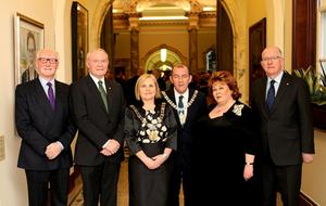 Pictured (l-r) at the Civic Dinner in City hall to mark the Centenary of the Easter Rising are, Ken Martin (Royal British Legion), Deputy First Minister, Martin Mc Guinness, Lord Mayor Dublin, Criona Ni Dhalaigh, Belfast Lord Mayor Arder Carson, The Lord Lieutenant Fionnula Jay-O'Boyle and Charles Flanaghan TD. PIc By Paul Moane / Aurora PA