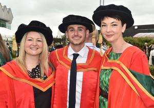 Ulster University Graduations-Coleraine Capmpus-05-07-15 Cherie Armer with Sean O'Neill who graduated with a Phd in Psychology and Claire McDowell. Photo by Simon Graham/Harrison Photography