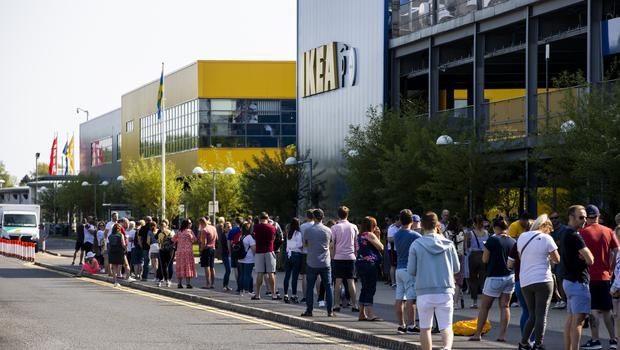 Massive queues formed as home furnishings retailer Ikea opened its doors for the first time in months in Belfast on Monday (Liam McBurney/PA)